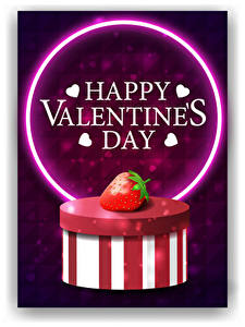 Bilder Valentinstag Vektorgrafik Erdbeeren Weißer hintergrund Schachtel Text Englisch Herz