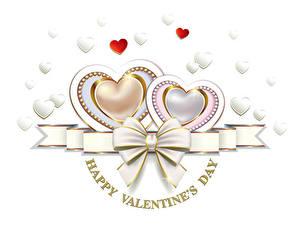 Papéis de parede Dia dos Namorados Fundo branco Inglês Coração Laço