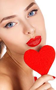 Papéis de parede Dia dos Namorados Fundo branco Face Lábios vermelhos Coração Meninas