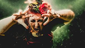 Desktop hintergrundbilder Vampir Finger Hand Schreckliche junge frau