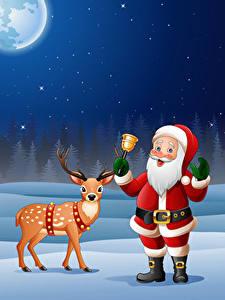 Fotos Vektorgrafik Neujahr Hirsche Weihnachtsmann Glocke
