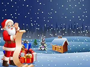 Fotos Vektorgrafik Neujahr Gebäude Schnee Weihnachtsmann Uniform Brille Geschenke Weihnachtsbaum