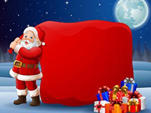 Fotos Vektorgrafik Neujahr Weihnachtsmann Geschenke Uniform Mond