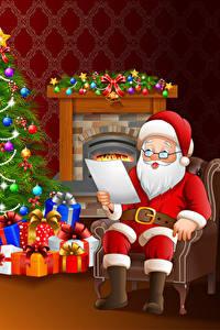 Hintergrundbilder Vektorgrafik Neujahr Weihnachtsmann Brille Uniform Weihnachtsbaum Geschenke Sitzend