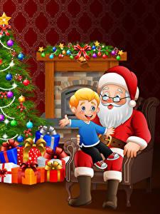 Bilder Vektorgrafik Neujahr Weihnachtsmann Sitzt Jungen Geschenke Kugeln