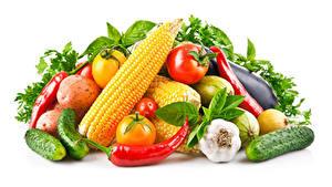Fotos Gemüse Mais Knoblauch Paprika Gurke Tomaten Weißer hintergrund