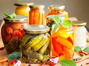 Hintergrundbilder Gemüse Gurke Knoblauch Weckglas das Essen