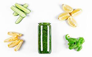 Hintergrundbilder Gemüse Gurke Zitrone Äpfel Weißer hintergrund Weckglas Stücke