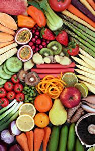 Hintergrundbilder Gemüse Obst Äpfel Tomate Birnen Zitrusfrüchte Erdbeeren Lebensmittel