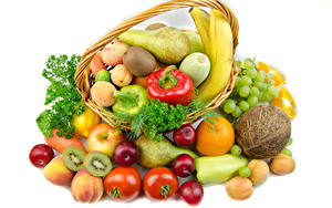 Wallpaper Vegetables Fruit Tomatoes Coconuts Pears Apples Apricot Grapes Chinese gooseberry White background Wicker basket