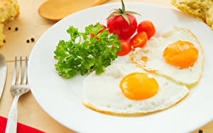 Pictures Vegetables Tomatoes Breakfast Plate Fried egg