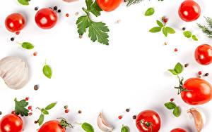 Hintergrundbilder Gemüse Tomate Knoblauch Schwarzer Pfeffer Weißer hintergrund Vorlage Grußkarte