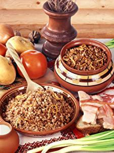 Bilder Gemüse Tomate Saure Sahne Brei Buchweizen Salo - Lebensmittel Löffel