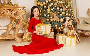 Hintergrundbilder Viacheslav Krivonos Neujahr Tannenbaum Kleid Schachtel Geschenke Lächeln Sitzen Kugeln Starren junge frau