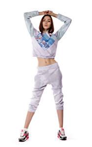 Bilder Viacheslav Krivonos Model Posiert Bauch Weißer hintergrund Blick Maria junge Frauen