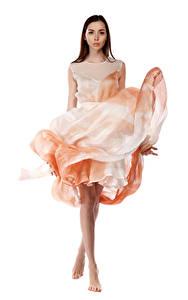 Bilder Viacheslav Krivonos Model Pose Kleid Weißer hintergrund Blick Maria Mädchens