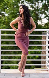 Hintergrundbilder Victoria Bell Posiert Kleid Brünette junge frau