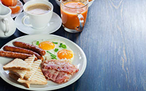 Wallpapers Vienna sausage Bread Coffee Juice Bacon Breakfast Plate Fried egg Cup