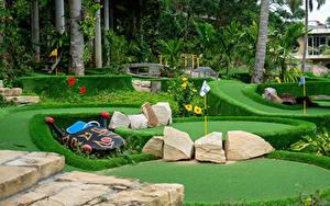 Fotos Vietnam Parks Stein Golf Rasen Strauch Design Palmen Insel Phu Quoc Natur
