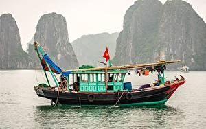 Bilder Vietnam Meer Boot Binnenschiff Felsen  Natur