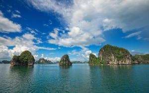 Hintergrundbilder Vietnam Meer Himmel Felsen Wolke Bucht Ha Long Bay