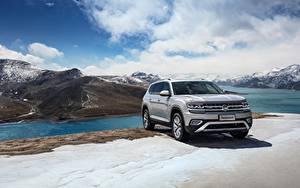 Bakgrundsbilder på skrivbordet Volkswagen Grå Crossover 2018 Atlas Teramont