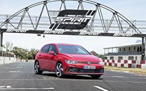 Bakgrundsbilder på skrivbordet Volkswagen Röd 2020 Golf GTI Worldwide
