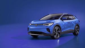 Hintergrundbilder Volkswagen Farbigen hintergrund Hellblau Blau 2020 ID.4 Prototype