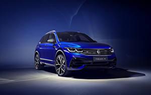Bakgrundsbilder på skrivbordet Volkswagen Ljusblå 2020 Tiguan R Worldwide Bilar