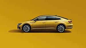 Wallpaper Volkswagen Metallic Side Colored background Yellow CC 380 TSI R-Line, China, 2020 auto
