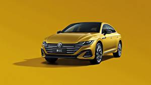 Hintergrundbilder Volkswagen Metallisch Farbigen hintergrund Gelb CC 380 TSI R-Line, China, 2020 auto