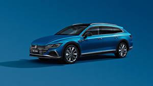 Bilder Volkswagen Blau Metallisch Kombi Farbigen hintergrund CC Shooting Brake 380 TSI, China, 2020 auto