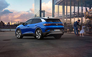 Bakgrundsbilder på skrivbordet Volkswagen CUV Blå Metallisk ID.4 1st Edition, 2021 Bilar