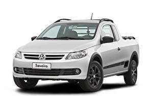 Bakgrundsbilder på skrivbordet Volkswagen Pickup Silver färg Metallisk Vit bakgrund  bil