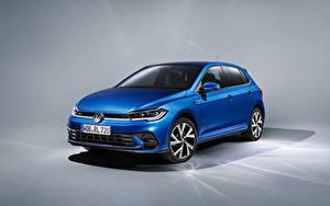 Bilder Volkswagen Blau Metallisch Polo R-Line, Worldwide, (Typ AW), 2021 Autos