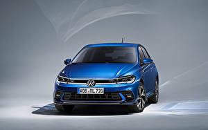 Bilder Volkswagen Blau Metallisch Vorne Polo R-Line, Worldwide, (Typ AW), 2021 auto