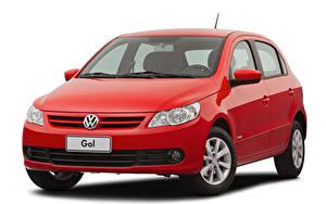Bilder Volkswagen Rot Metallisch Weißer hintergrund  auto