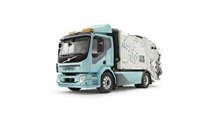 Bilder Volvo Lastkraftwagen Weißer hintergrund garbage truck, FL, Electric auto