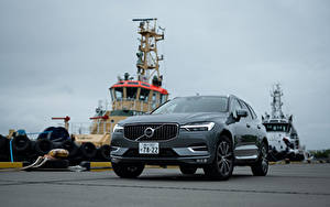 Hintergrundbilder Volvo Graues Metallisch Vorne Crossover XC60 B5 Inscription JP-spec, 2019 automobil