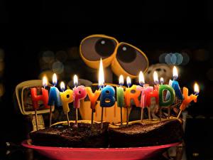 Fotos WALL·E Geburtstag Feiertage Kerzen Obstkuchen Backware Roboter Lebensmittel
