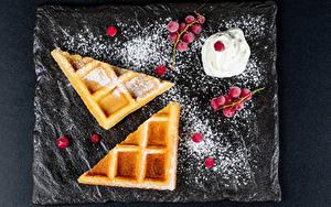 Wallpapers Waffles Berry Powdered sugar Cream Food