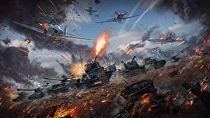 Fotos War Thunder Panzer Selbstfahrlafette Jagdflugzeug Krieg Schuss Russischer Spiele