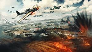 Fotos War Thunder Panzer Selbstfahrlafette Jagdflugzeug Explosion Krieg Russische Spiele