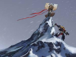 Hintergrundbilder Warhammer 40000 Krieger Gebirge Schwert Schnee Fantasy