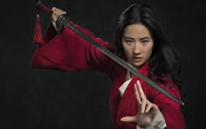 Fotos Krieger Asiatisches Gestik Brünette Schwert Pose Starren Liu Yifei junge Frauen