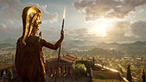 Bilder Krieger Assassin's Creed Odyssey Speer Alexios Spartans Spiele 3D-Grafik