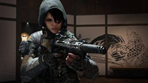 Hintergrundbilder Krieger Sturmgewehr Call of Duty Kapuze Black Ops 4 Dead Of The Night Mädchens