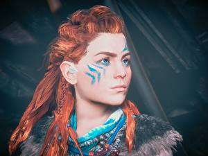 Bilder Krieger Horizon Zero Dawn Rotschopf Gesicht Blick Haar Aloy Spiele Mädchens 3D-Grafik