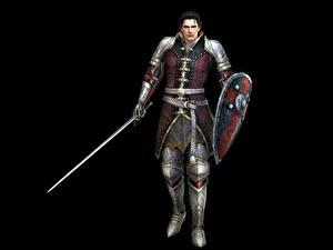 Bilder Krieger Mann Bladestorm Schwert Schild (Schutzwaffe) Schwarzer Hintergrund Nightmare, Magnus (Mercenary) Spiele Fantasy 3D-Grafik