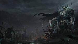 Fotos Krieger Ungeheuer Warhammer 40000 Rüstung Horn Fantasy